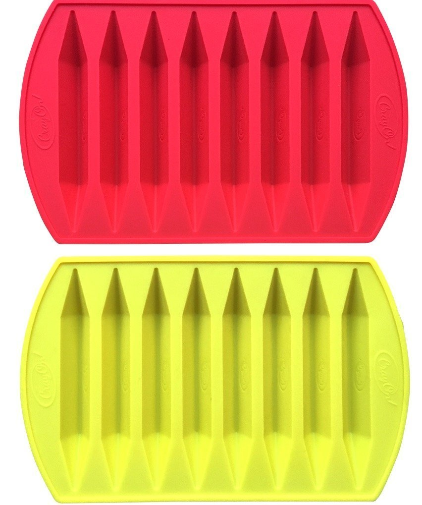 CrayOn 2 Double Tipped, Triangular Silicone Crayon Molds - Makes 16 Crayons (Total)