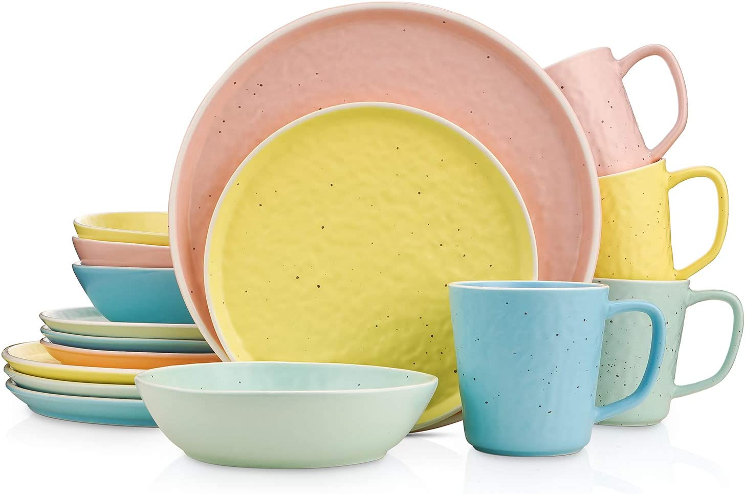 Stone lain Elena Mix and Match 16 Piece Stoneware Dinnerware Set, Service For 4, Yellow, Blue, Pink, Mint