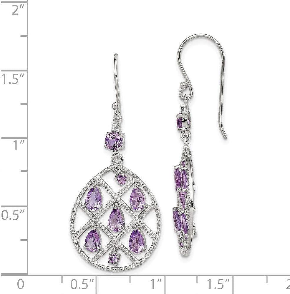 Amethyst Earrings 925 Sterling Silver Teardrop Hoop Dangle Drop New