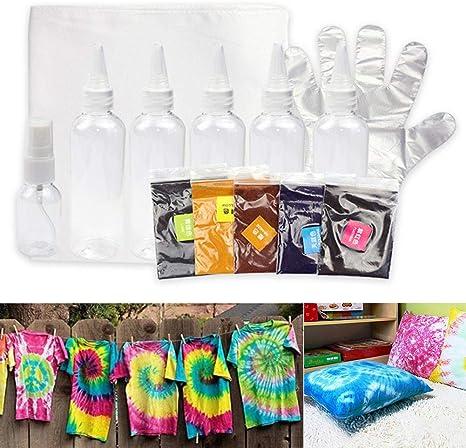 Dettelin Kit de un Solo Paso Tie-Dye, Tela de Graffiti de Ropa de Bricolaje Segura y no tóxica para proyectos en Solitario/diversión Familiar, Ropa de ...