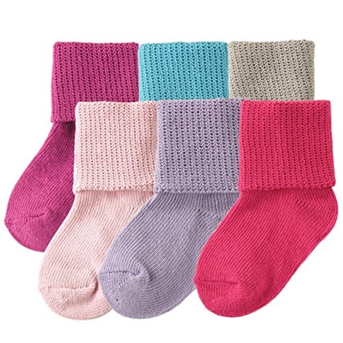 Luvable Friends Basic Cuff Socks 6 Pack, Purple, 0-6 Months