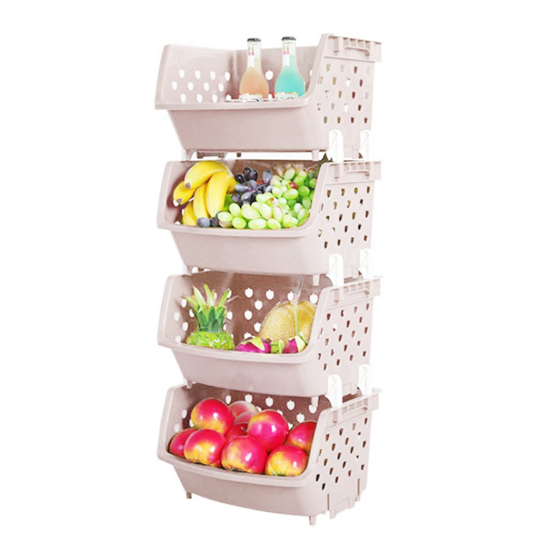 LVPY Kitchen Storage Rack,4 Tier Plastic Basket Shelving Vegetable Fruit Storage Rack Organizer,Blue