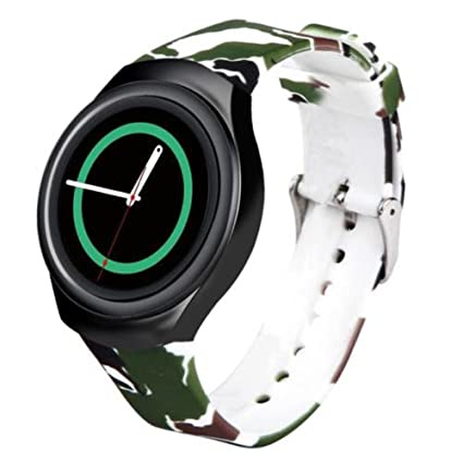 For Samsung Gear S2 Watch Band - Soft Silicone Sport Replacement Band for Samsung Gear S2 Smart Watch SM-R720 SM-R730 Version Green Camouflage