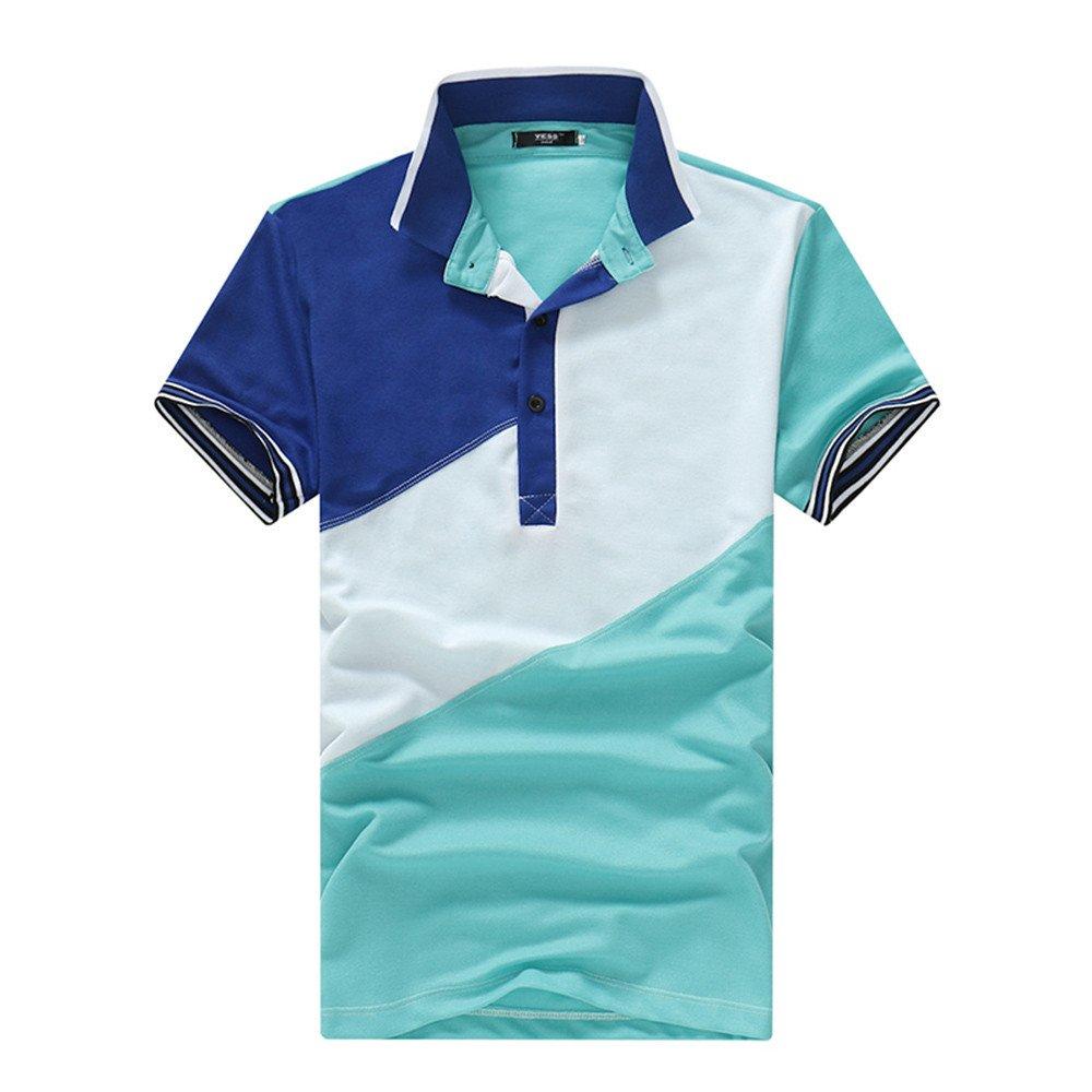 b52b1d013e98 Poloshirt Herren T Shirt Top Sommer Revers Kurzarm Polohemd Slim Fit Polo  Shirt Splice T-Shirt Hemden Freizeithemd Zhen+ Klassisches Männer Sport  Casual ...