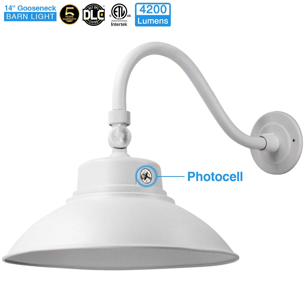 14in. White LED Gooseneck Barn Light 42W 4200lm Daylight LED Fixture for Indoor/Outdoor Use - Photocell Included - Swivel Head,Energy Star Rated - ETL Listed - Sign Lighting - 5000K Daylight 1pk02