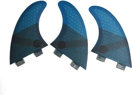 UPSURF Surfboard Tri Fin Future M Size Fiberglass+Honeycomb G5 Thruster Set with Screws and Key