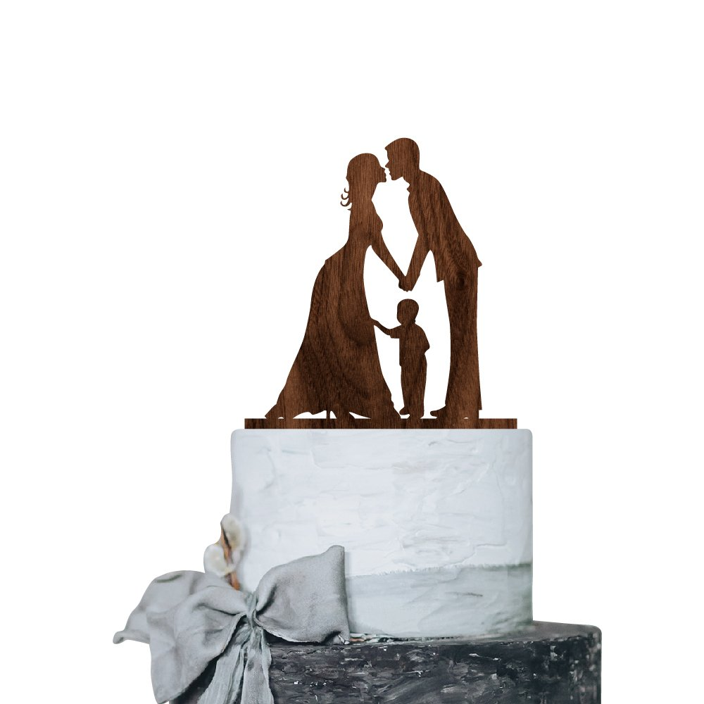 P Lab Kissing Couple with Boy Romantic Time Wedding Cake Topper Rustic Wood Decoration Keepsake Engagement Favors for Special Event Walnut Wood