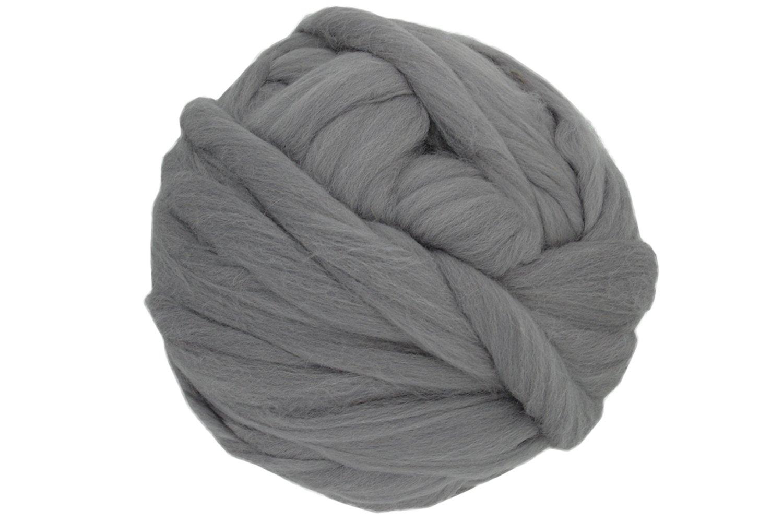 Charmkey Natural Soft Super Fatty Chunky Giant Blanket 100% Australian Merino Wool Tops Extreme Arm Knitting Roving Yarn Silk Fiber Spinning for Mega Pillow Cushion, 35 oz/ 2.2 Lb (Gray) by CHARMKEY