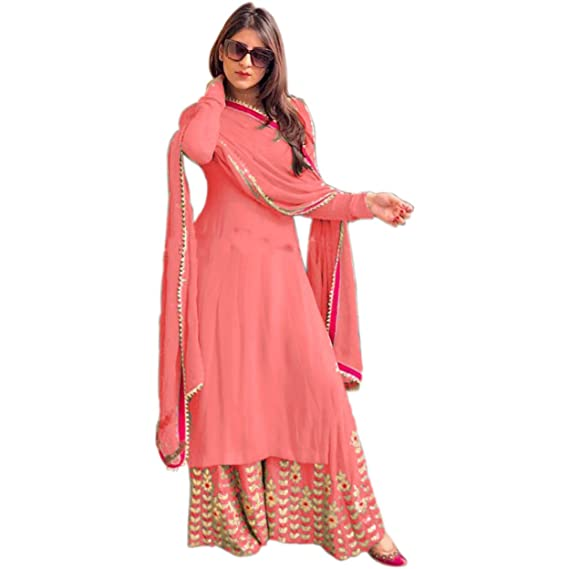 6651cdb9b Ethnic Empire Women s Georgette Fully Embroidered Stitched Palazzo Suit  (Light Pink