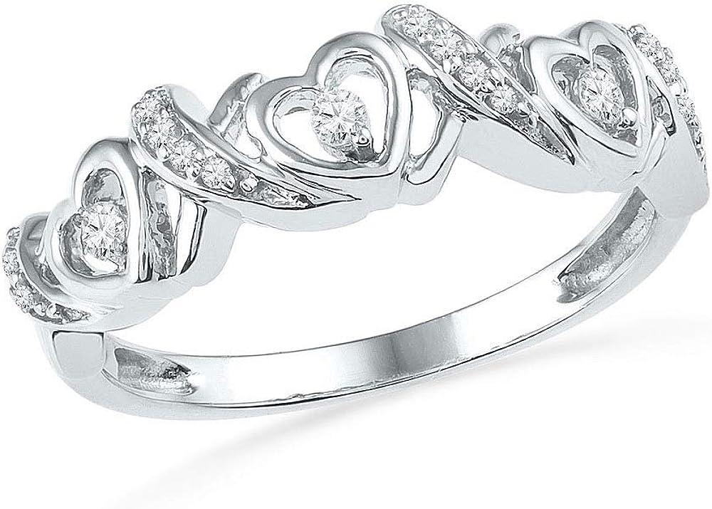 Diamond Heart Love Band Ring 1//8ct 10k White Gold