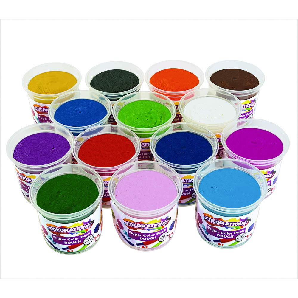 Colorations Classic Dough, 5 oz tubs, Set of 14 Bright Colors, Non-Toxic, Resealable, Soft, Pliable, No Crumble, Modeling, Moldable, Sensory, Smooth, for Home, School, Daycare, STEM, DOCOLORS, Multicolor