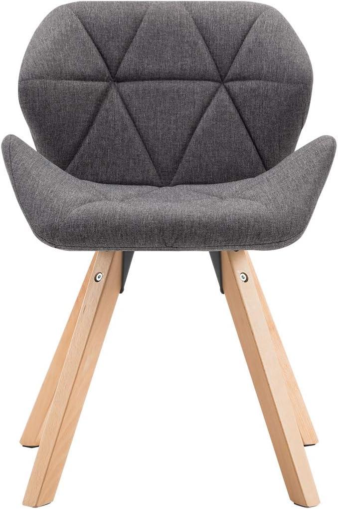 Duhome Chaise Salle /à Manger Lot de 2 en Tissu Gris Design Retro Chaise scandinave avec Pieds en Bois Textile de Lin s/élection de Couleur 622B