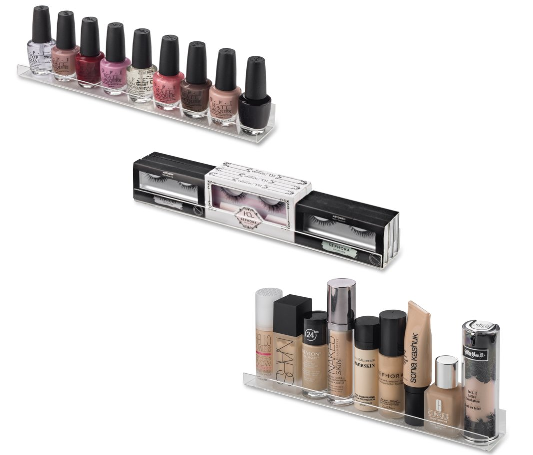 BY ALEGORY Acrylic Makeup Wall Organizing Shelves Nail Polish, Eyelashes, Foundations Cosmetics | 12 inch shelf (Pack of 4) Hardware Incl'd