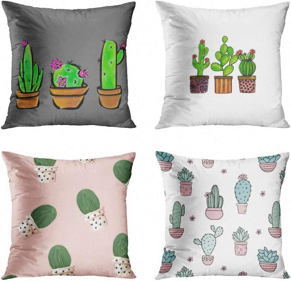 ArtSocket Set of 4 Throw Pillow Covers Pink Pattern Cactus Green Cute Succulents Flowering Herbs Plant Lover Watercolor Decorative Pillow Cases Home Decor Square 18x18 Inches Pillowcases