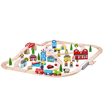 Bigjigs Rail Wooden Town and Country Train Play Set with Accessories: Toys & Games