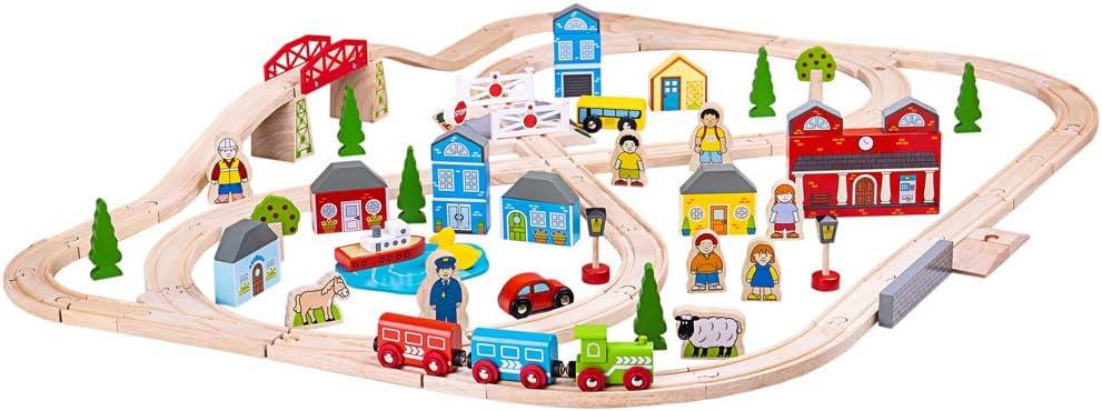 Bigjigs Rail Wooden Town und Country Train spielen Satz mit Accessories
