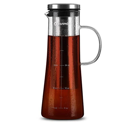 zanmini Cafetera de émbolo, Cafetera Cold Brew, 1000ml para ...