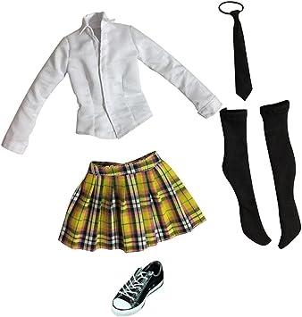 Amazon.es: non-brand Femenina Uniforme de Colegiala (Camisa de Manga Larga, Tela Escocesa Minifalda, Corbata, Medias y Zapatos de Lona) - Amarillo + Negro: Juguetes y juegos