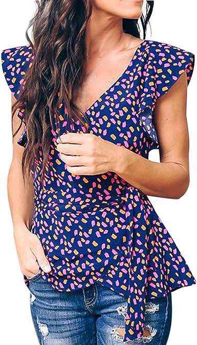 Mujer Blusa Casual Manchas De Color Cintura Vendaje Mujer ...