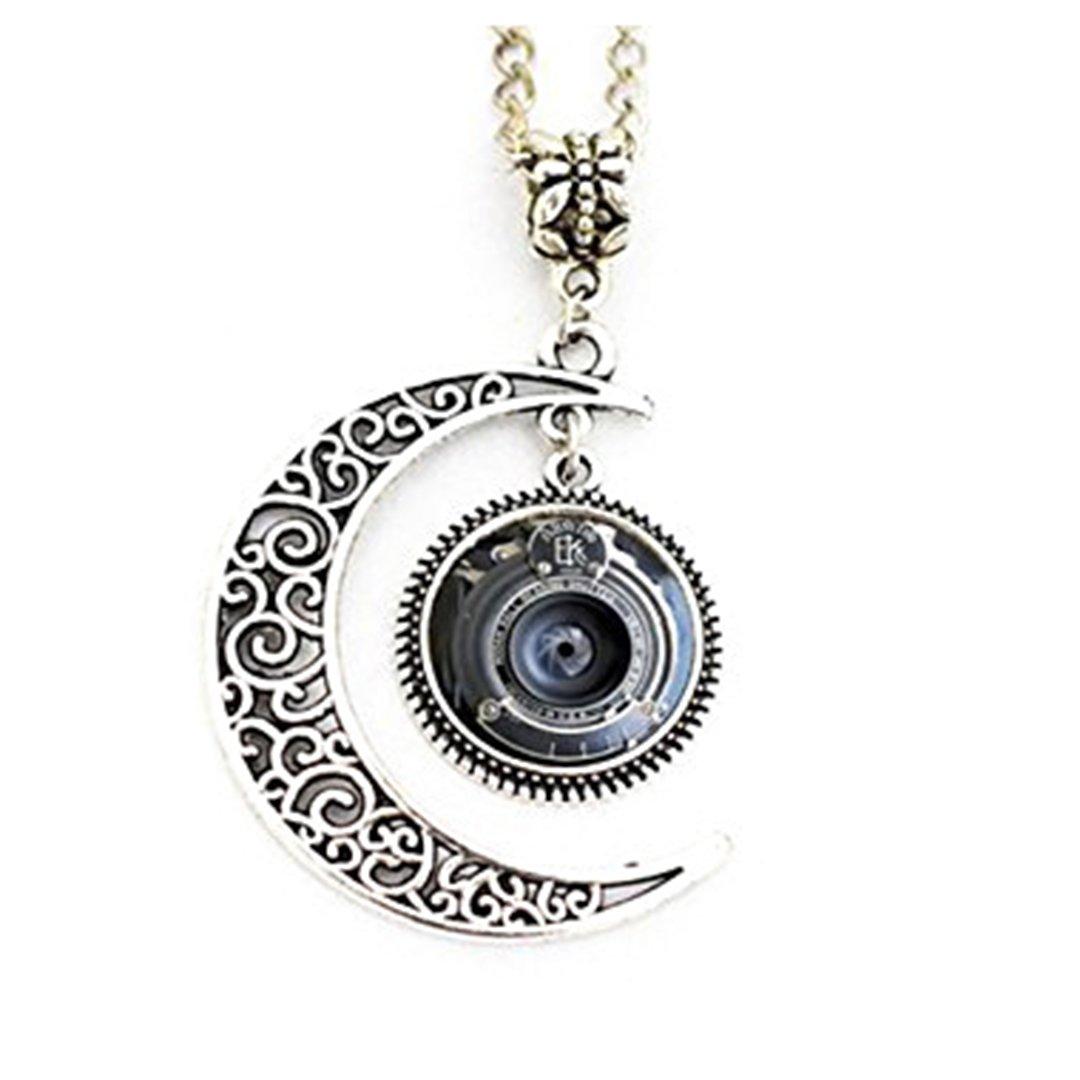 Vintage cámara lente luna colgante collar luna llena collar ...