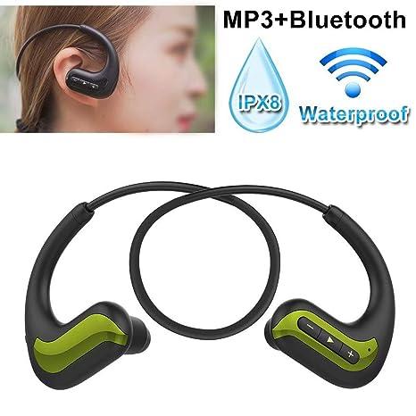 Jinyi Auriculares Bluetooth, IPX8 Resistente al Agua, 8 GB de ...