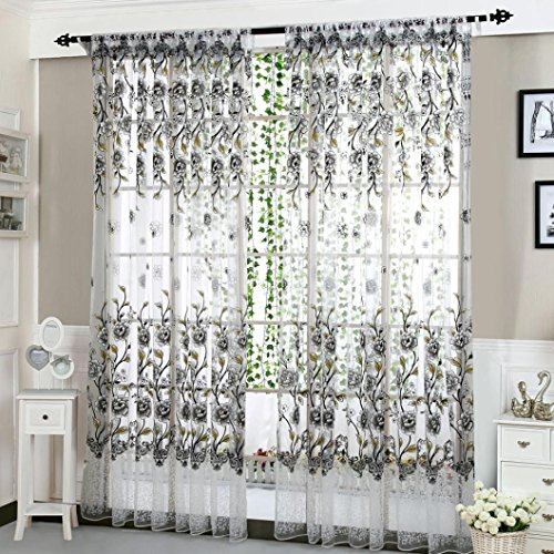 Feature 3 Feet Sheer Curtain (Yuxing 1 Panel Peony Flower Floral Print Sheer Voile Curtain Tulle Drapes for Bedroom Living Room 200cm x 100cm (Gray))