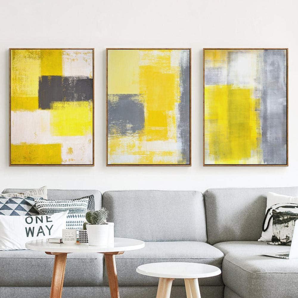 MXmama Arte Abstracto Moderno/Pintura de Lienzo en Gris y Blanco Amarillo/Imagen de póster Impresa/decoración de Arte en la Pared de la habitación del hogar - 50x70cmx3 sin Marco