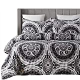 Vaulia Lightweight Microfiber Duvet Cover Set, Bohemia Exotic Style Patterns Design, Grey Color - Full/Queen Size