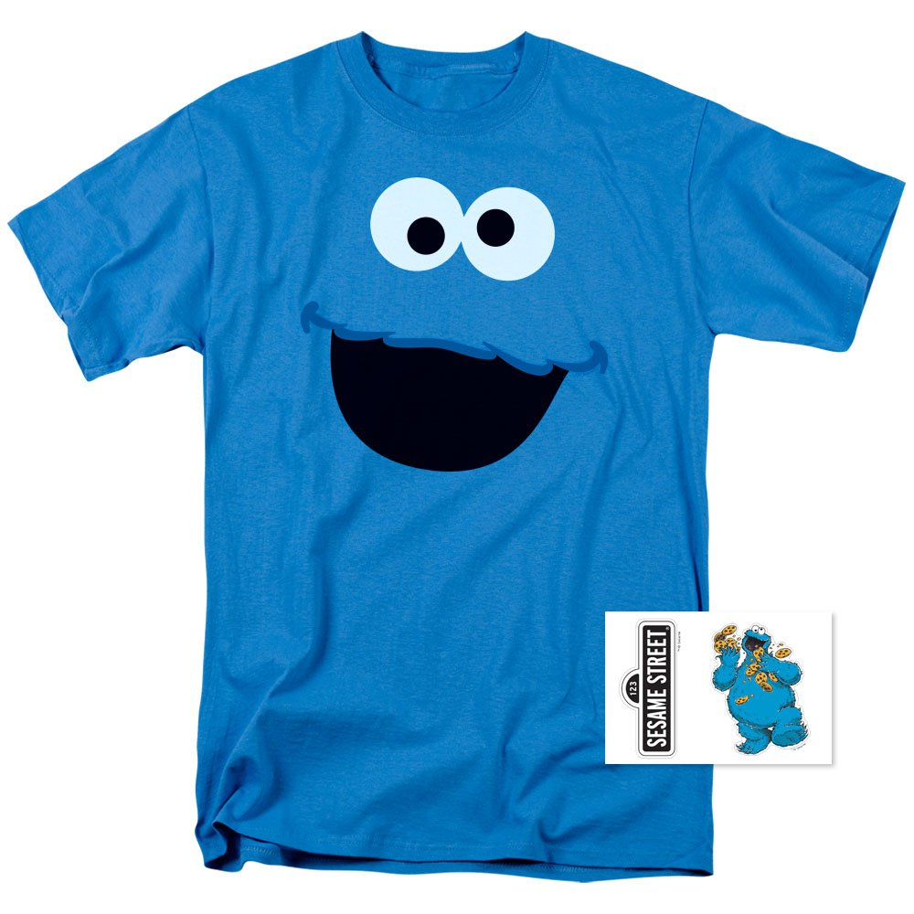 Sesame Street Cookie Monster T Shirt & Exclusive Stickers (Large)
