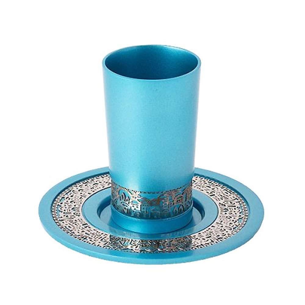 Anodized Aluminium Jerusalem Shabbat Kiddush Cup with Plate - Turquoise Judaica