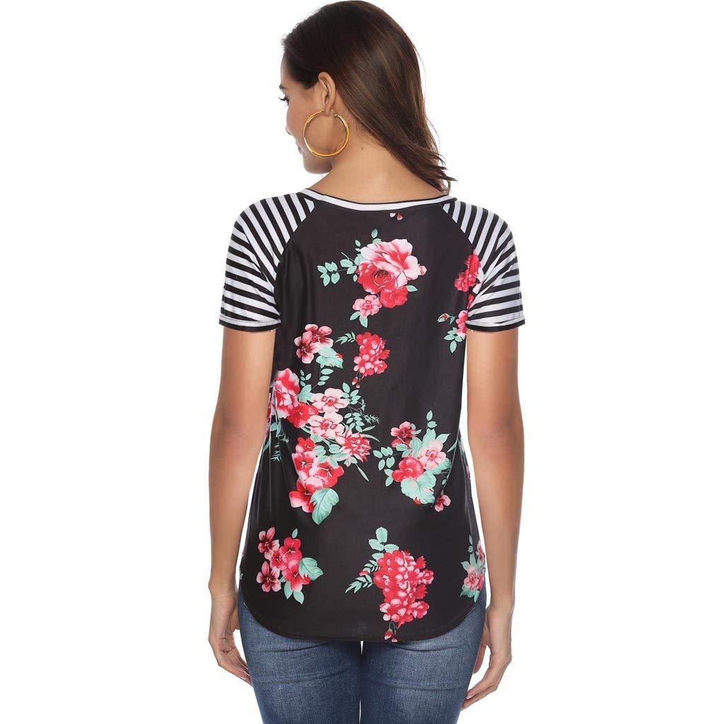 Soufun Round Neck Tops Polyester Women Casual Floral Print Blouse Stripe Short Sleeve Shirt O-Neck Splice Design