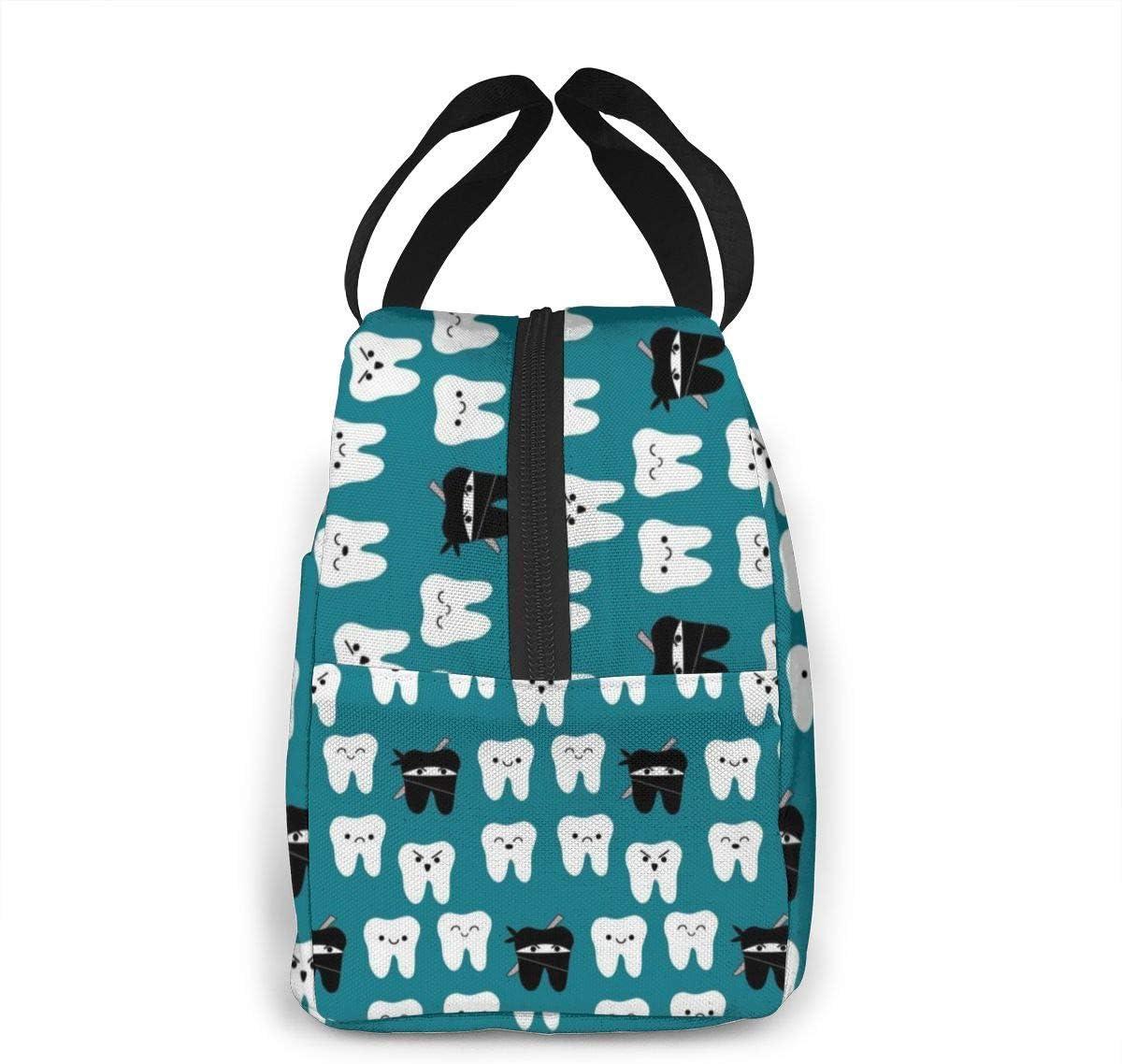 Bolsa de almuerzo con aislamiento dental para dentista y dientes bolsa de almuerzo reutilizable para mujeres y hombres para viajes de trabajo, organizador ZYWL Antcreptson con bolsillo frontal