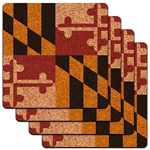 Maryland State Flag Low Profile Cork Coaster Set