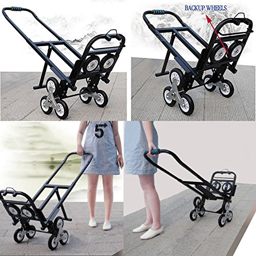 Superland Stair Climbing Cart Portable 330LBS Capacity Folding Stair Hand Truck 30 Inch Folded Height with 2 Backup Wheels by Superland