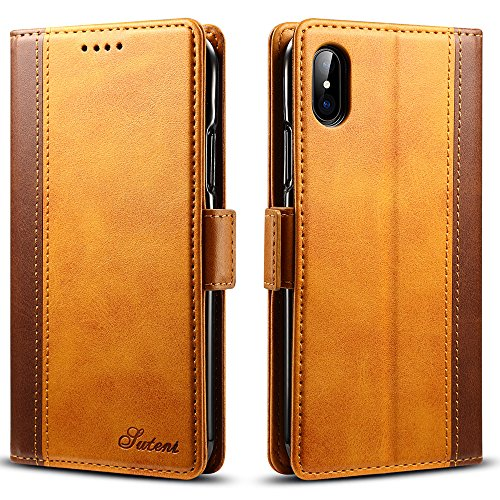 iPhone XS/X PU Leather Wallet Cell Phone Card Holder Case With Kickstand Protective Flip Cover, - Fire Phone Case Wallet Leather