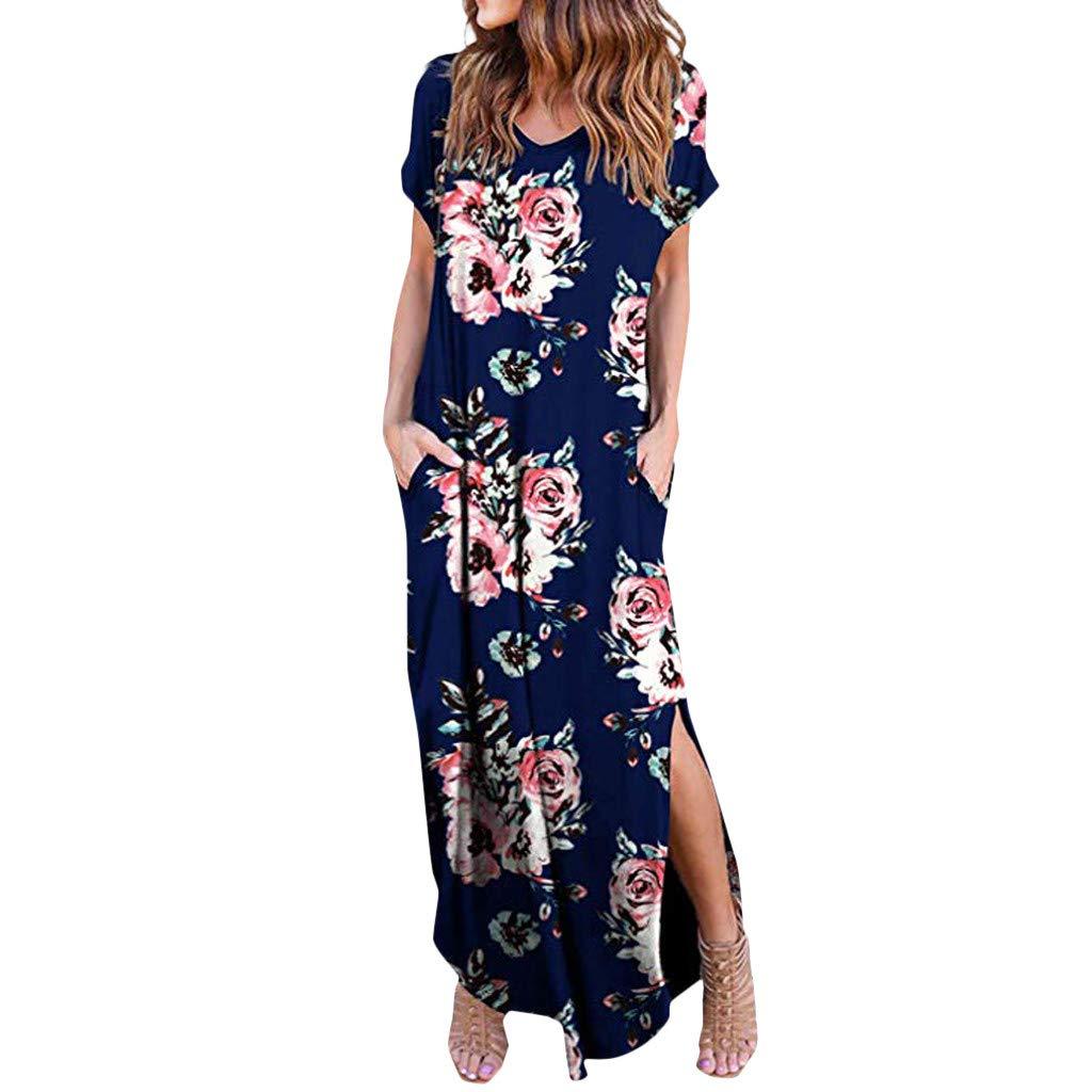 Xavigio_Women Dresses Women's V-Neck Short Sleeve Floral Print Casual Loose Long Split Maxi Dress with Pockets Blue