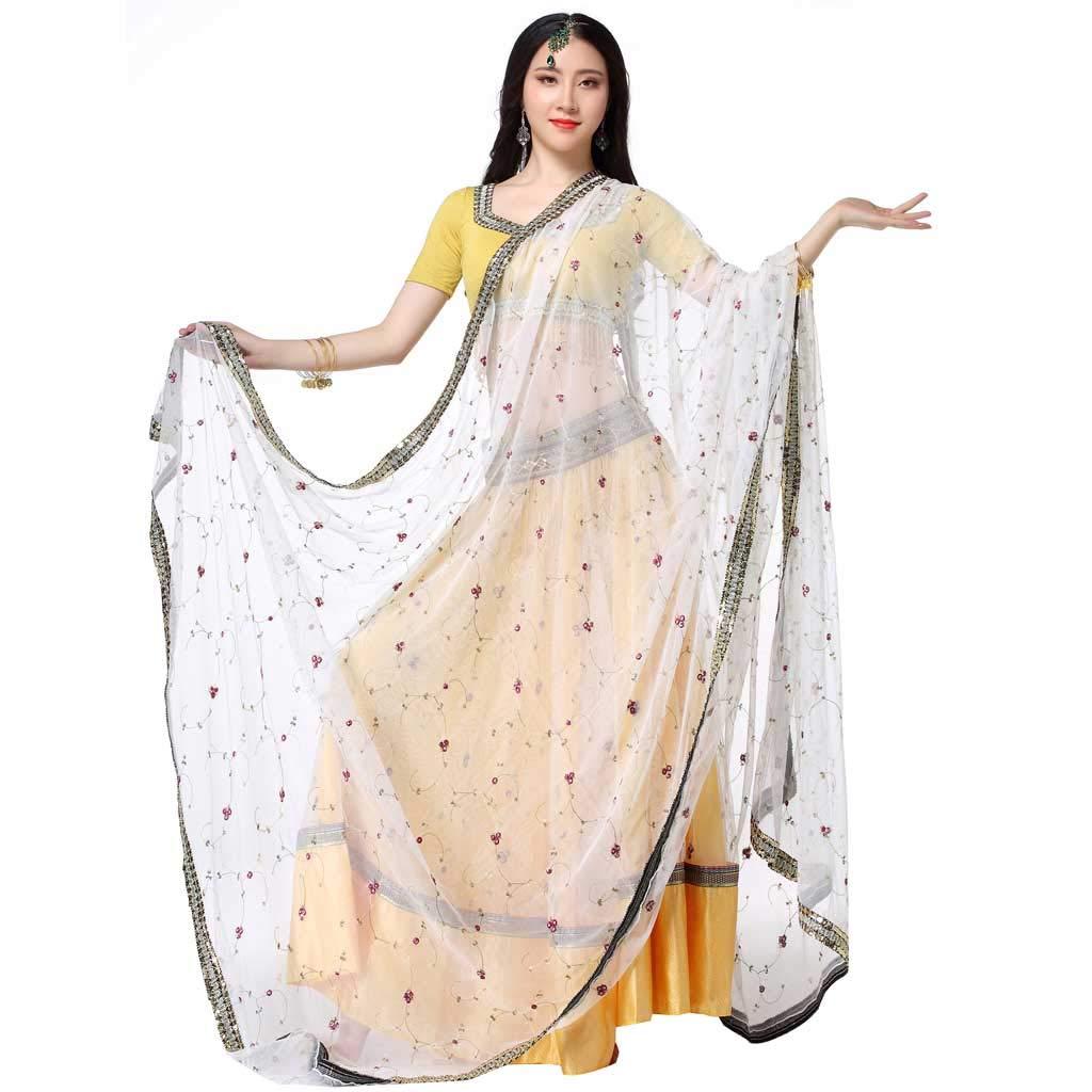 ボリウッド刺繍女性のベリーダンススカート、アダルトサリービッグスイングスカートパフォーマンスウェア B07HVTVWM4  イエロー いえろ゜ M
