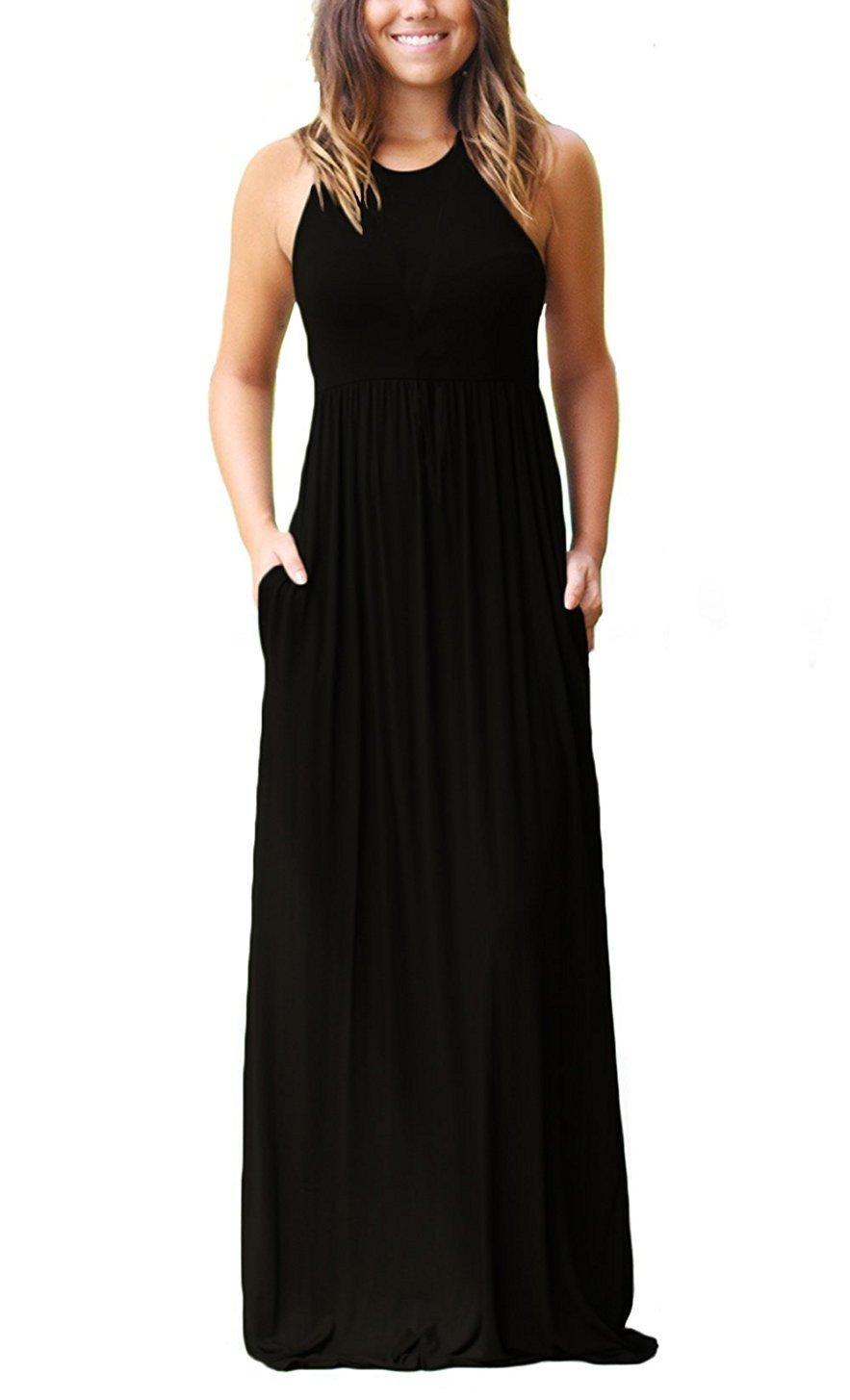 Euovmy Women's Sleeveless Dress Casual Plain Loose Summer Long Maxi Dresses with Pockets Black