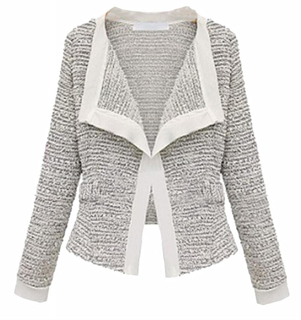 TTYLLMAO Women Casual Slim Fit Long Sleeve Tweed Blazer Cardigan