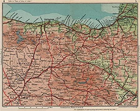 Map Of Northern Spain.Northern Spain Costa Verde De Cantabria Basque Vintage Map Plan