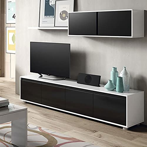 Habitdesign 0T6663BO - Mueble de salón Moderno, modulos Comedor Alida, Acabado en Color Blanco Brillo y Negro Brillo Medidas: 43 x 200 x 41 cm de Fondo