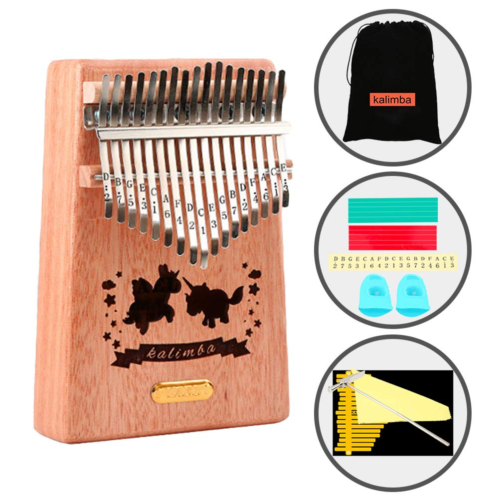 Kalimba 17 Key Thumb Piano,Portable Beinner Mahogany Finger Piano with Cute Bag Instruction Tune Hammer Musical Stickers,Best Gift for Music Fans Kids Adults