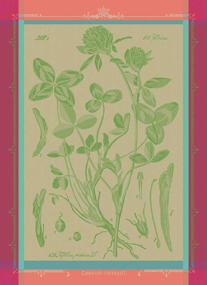 Garnier-Thiebaut, Fleurs de Trèfle (Clovers/Shamrocks), French Jacquard Kitchen/Tea Towel, 100 Percent Cotton