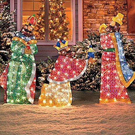 knlstore set of 3 lighted wisemen shimmering nativity scene set tinsel sequin fabric pvc metal frame