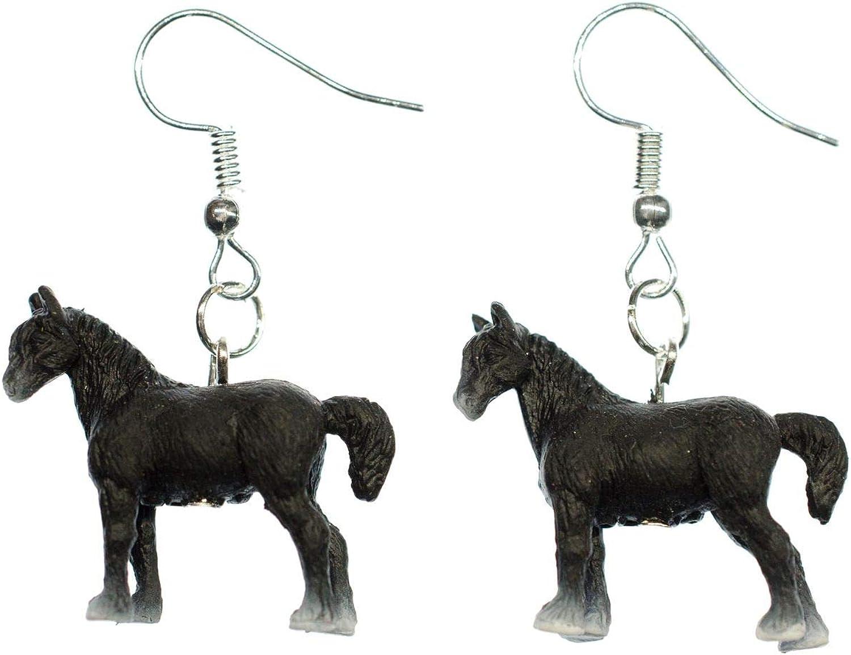 Pendientes caballo remolque 25mm Miniblings animales de granja animales de granja de caballos