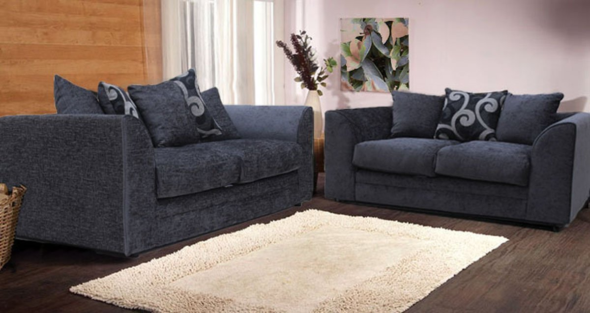 Bon New Alexa Chenille Sofa Set With Scatter Cushions Grey And Silver (3 + 2  Seater): Amazon.co.uk: Kitchen U0026 Home