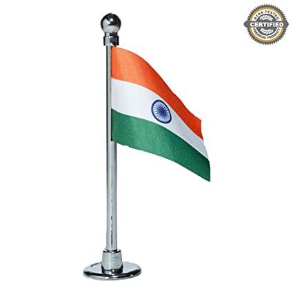 The Flag Shop Indian Miniature Car Dashboard Flag With A Nano Chrome-Plated  Plastic Base