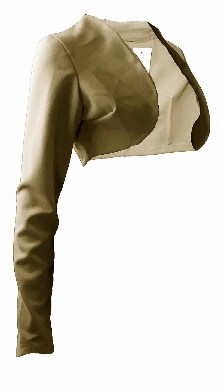 #929 Damen Designer Jersey Bolero Jerseyblazer Blazer Jäckchen Jacke Dunkelblau Weiss Schwarz Khaki Rot 34 36 38 40