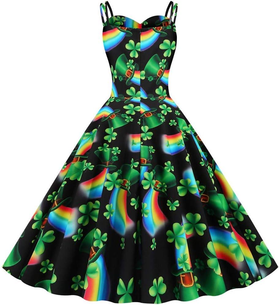 HOTSELL〔◕ღ◕〕St 2020 Womens 1950s Vintage Retro Clover Print Sling Dress Skirt Prom Swing Midi Dresses Cocktail Party Dresses Patricks Day Dress