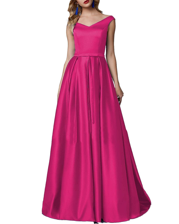 Fushia CCBubble Long Satin Prom Dresses Aline V Neck Sleeveless Formal Evening Wedding Party Gowns